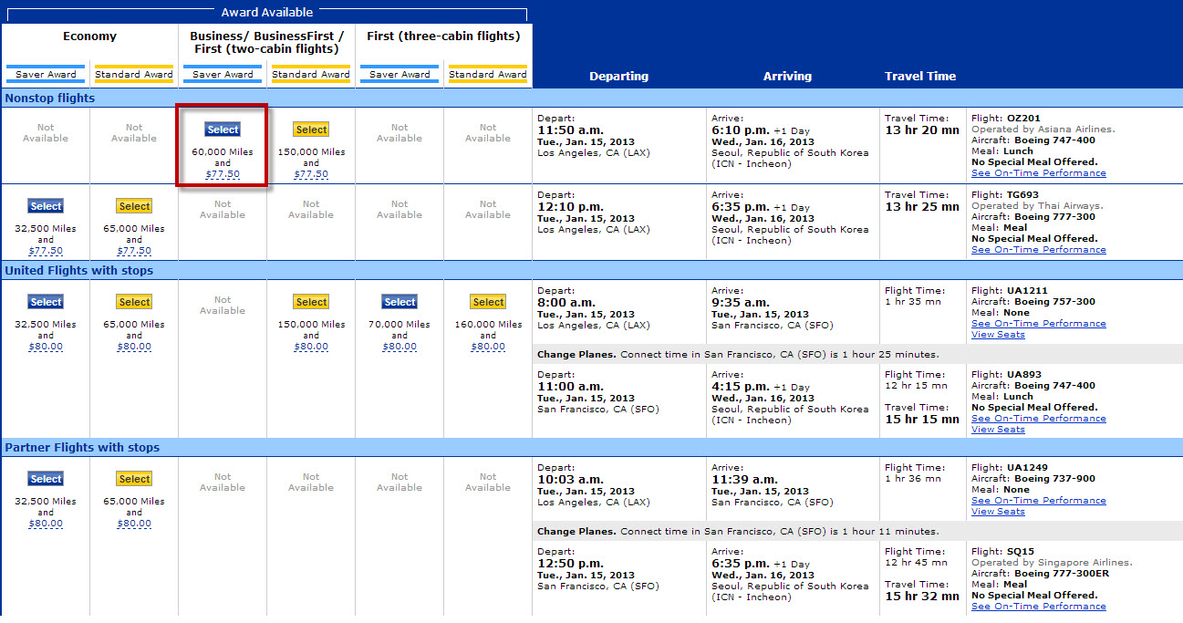 This is a truncated list of the available flights. I'm going to select the only nonstop Business Class option.