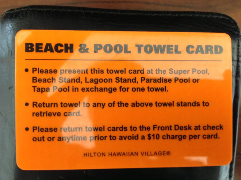 Beach & Pool Rental Card