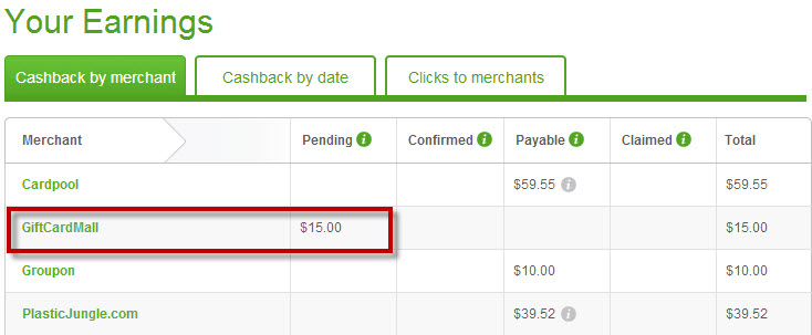 The cash back shows as pending immediately in your Top Cash Back account!