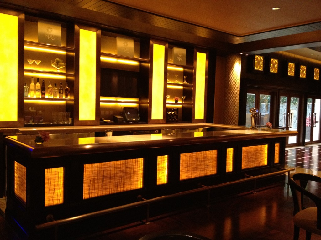 The bar, empty in the morning.