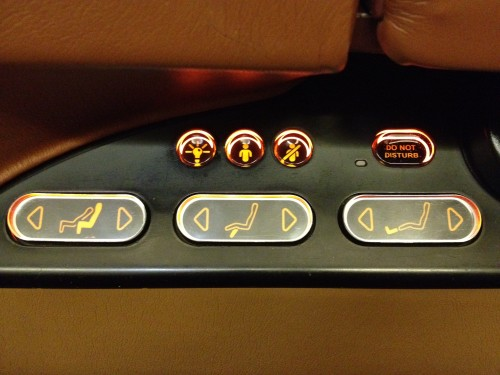 "Seat controls. How often do you see a ""Do Not Disturb"" sign on an airplane?"