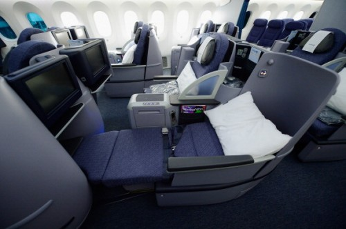 The United 787 seat is also lie-flat, but is in a 2-2-2 configuration.