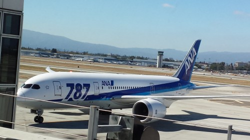 The ANA 787 pulling up to the gate.