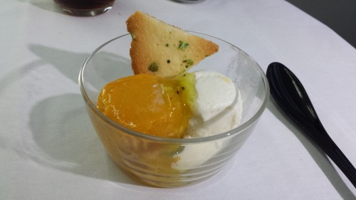 Dessert saved the meal. We got vanilla ice cream and mango sherbet. It came with a pistachio cookie that wasn't mentioned on the menu.