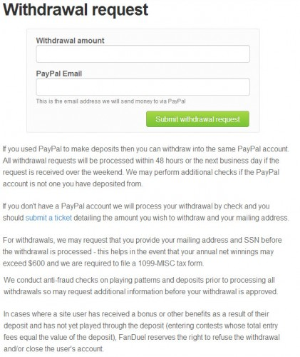 FanDuel Withdrawal page.