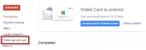 Order the Card from your Google Wallet account.