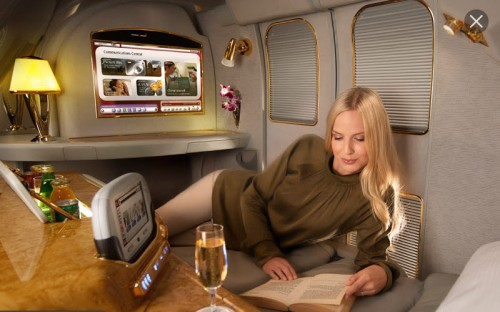 Emirates A380 First Class. I've stayed in hotels much worse than this.