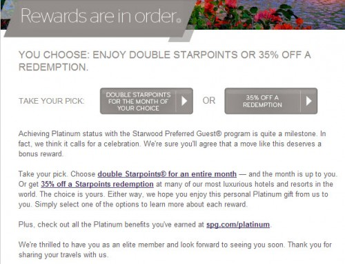 SPG Platinums receive a gift via email.