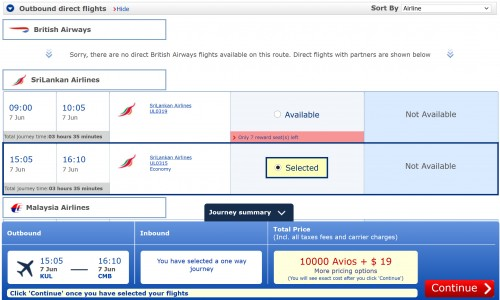 The search shows 10K Avios plus $19.