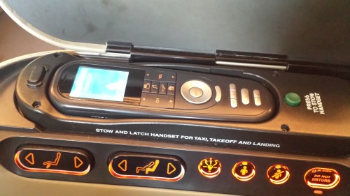 Seat and IFE controls.
